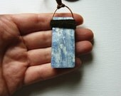 SALE Kyanite Crystal Raw Gemstone Unisex Necklace. Bohemian Recycled Leather & Suede