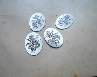 4 pc vintage oval aluminum enamel cabs 18 x 13 mm oval cabs - vintage jewelry supplies