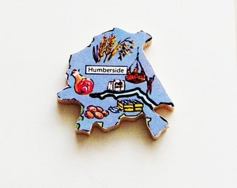 Humberside England Brooch - Lapel Pin / Unique Wearable History Gift Idea / Upcycled 1960s Wood Puzzle Piece / Timeless Gift Under 20