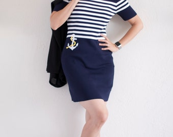 Women's White & Navy Striped Short Sleeves Mini Pencil Dress with Anchor Applique