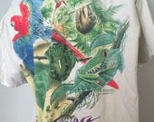 Rainforest Animals Tshirt, Vintage Tee Shirt, Save the Rainforest, Blue Macaw, Leopard Shirt, Animal Graphic Tee, Front Back Graphic 1990s
