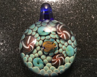 Glass Underwater Reef Implosion with Fish Pendant Bead --- Majestic Glass Arts ---