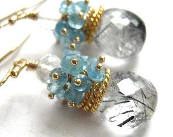 Black Rutilated Quartz Earrings Rutilated Quartz and Blue Topaz Cluster Earrings Facete Briolette Earring
