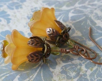 Golden Blossom Flower Earrings with Lucite Flowers, Czech Glass and Antiqued Copper