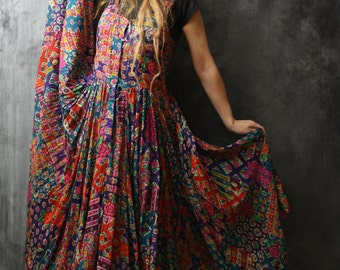 Vintage Dress Stunning Bohemian Hippie Woodstock Sheer Patchwork India Cotton Festival Sun Dress Huge Sweep Skirt 1980s