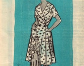 1960s Mail Order 9090 Vintage Sewing Pattern Misses Housecoat Housedress Size 16 Bust 36