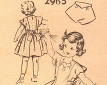 1940s Mail Order 2965 Vintage Sewing Pattern Toddler's Party Dress Size 2