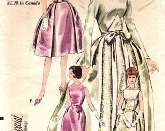 1960s Vogue 4285 Special Design Vintage Sewing Pattern Misses Bridal Gown, Bridesmaid, Formal Dress Size 12 Bust 32, Size 14 Bust 34
