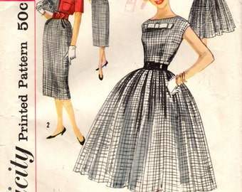 1950s Simplicity 2406 Vintage Sewing Pattern Teen's Dress, Cropped Jacket Size 10 Bust 30