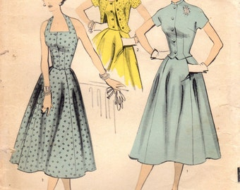 1950s Advance 6699 Vintage Sewing Pattern Misses Sundress, Cropped Fitted Jacket Size 12 Bust 30