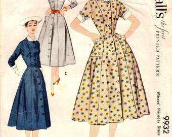 1950s McCall's 9932 Vintage Sewing Pattern Misses Princess Dress, Duster, Afternoon Dress, Spectator Dress Size 12 Bust 30, Size 14 Bust 32