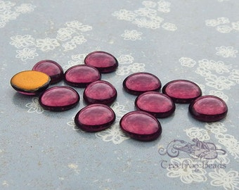 Vintage Cabochons - 10x12 mm Amethyst Purple - 6 West German Glass Stones