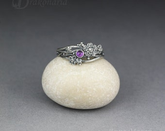 Twig ring - amethyst in silver, sculpted flowers and twigs, limited collection