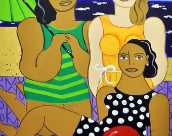 "Beach Girls- Original Large Painting on Canvas, 30"" x 40"""