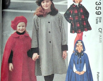 Easy McCall's 7359 Sewing Pattern, Children's Lined Coat, Cape and Hat, Outerwear, Sizes 4-5-6, Uncut FF