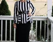 LillyAnnaKids Ladies Megan Black White Striped Top Shirt Jacket LALA