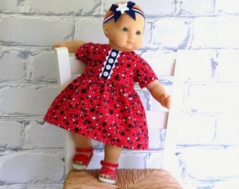 Bitty Baby Clothes Star Spangled Dress and Sparkle Headband, fits Bitty Twin too!