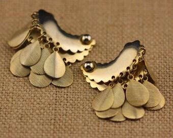 Gold Dangle Earrings - Vintage Costume Jewelry