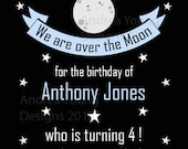 4x6 Printable Party Invitation - Cute Moon Party - Digital File