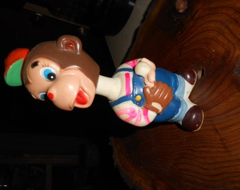 Vintage Monkey  Windup Baseball Toy>Tail Spins, Head goes up and down