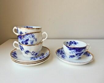 4 Flow Blue Cups Saucers  Duchess Pattern W.H. Grindley