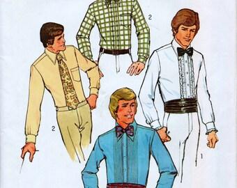 "Simplicity 7205 Mens Wedding Shirts Cumerbund and Bow-Tie Sewing Pattern Neck Size 15.5"" Chest 40"""