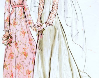 Vogue Bridal Design 2809 Misses Bridal Gown and Bride's Maid Dress Sewing Pattern Size 8 Bust 31.5""