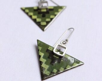 Arrow earrings, Triangular Enamel earrings, Yellow Green Brown enamels  Sterling silver and copper