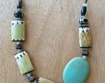 N308 Turquoise and Shell Necklace