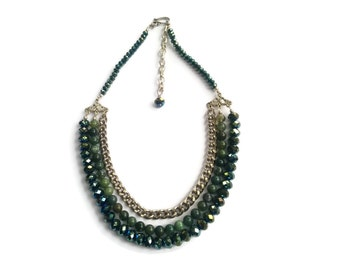 Cleopatra – Green Statement Necklace - Beaded Gemstone 3-Strand Collar - Agate/Crystal/Chain - Silver/Green – Mishimon Designs