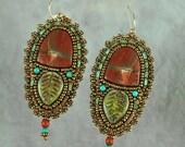 Earrings, bead embroidery, beaded, jasper, leaf, forest, green earrings