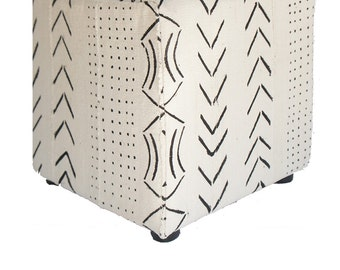 Vintage African White Mudcloth Cube Ottoman