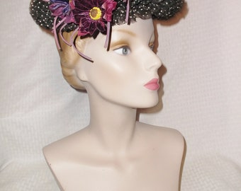 1950s Vintage Black and White Flocked Dot Ruffled Hat with Flowers