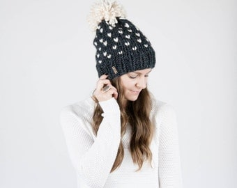 Fair Isle Knit Slouchy Hat With Pom Pom / THE ALPINE / Charcoal Grey and Fisherman