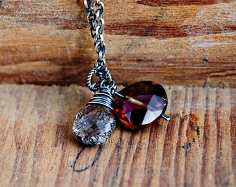 Tourmalinated Quartz, Cognac Quartz, Red Orange, Dark Red, Sterling Silver, Antiqued, Wire Wrapped, Pendant Necklace, Gemstone Necklace,