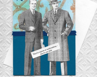 Blue Father's Day Card for Gay Dads - Vintage Style Collage Art Card - You're the Best Dads!
