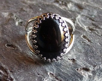 Black onyx ring, antique silver ring, gemstone ring, onyx jewelry, gothic ring, holiday gift ideas, unique Christmas gift