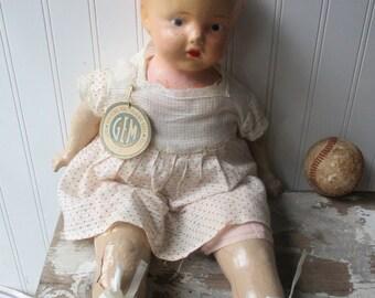 Vintage composition cloth doll mama doll GEM tag Shabby creepy scary or sweet doll K8