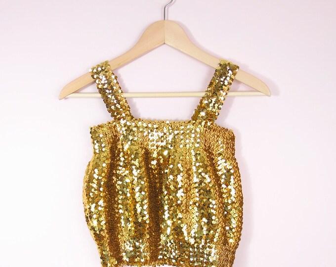 Vintage Disco Top - 1970s Gold Sequined Crop Top Size M