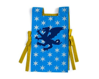 Knight Tunic - Blue Dragon Tunic - Knight Costume - Gryphon Crest - Silver Knight - Birthday Gift Kids - Present for Boys - Dress Up