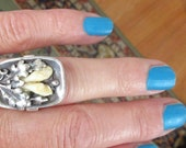 Gorgeous Antique Hand Made STERLING Silver Rectangular Floral RING With Bone Petals-Size 6.5 MUST See