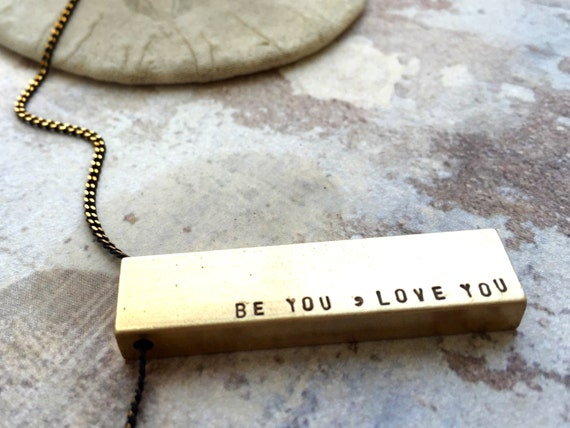 Personalized Necklace, Graduation gift, Be You Love You, engraved Name necklace, gift for BFF, Mantra necklace, gift for daughter