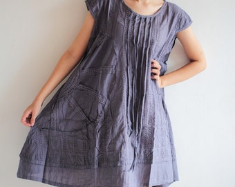 Artistic Collection...Sun and rain pleated dress M(1404)