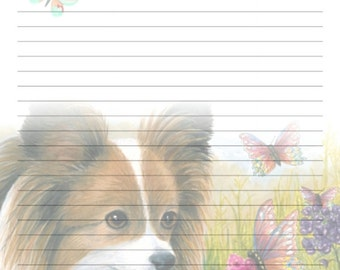 Digital Printable Journal Page Dog 123 Papillon butterfly Stationary 8x10 Download Scrapbooking Paper Template art painting L.Dumas