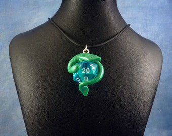 Jade and Blue Dicekeeper Dragon Necklace - D20 Pendant