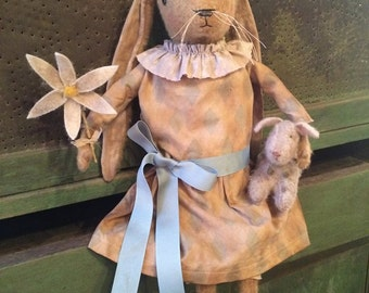 Primitive  Vintage Rabbit Doll and Lamb Folk-Art Joy