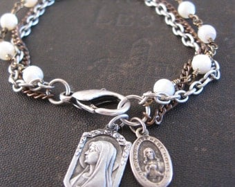 Catholic Medallion Bracelet with Mother Of Pearl - Lourdes and Sacred Heart