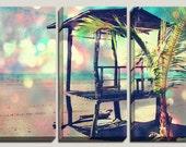 Giclee Bokeh Photography, Canvas Art, Palm Tree Decor, Modern, Pop Art, Bright, Colorful, Bokeh Art, Costa Rica Art, Pastel Decor, 3 Panel