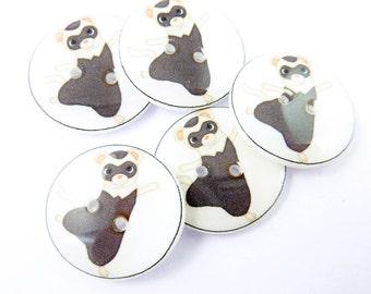 "5 Handmade Meerkat Buttons.  3/4"" or 20 mm Sewing Buttons. Craft buttons.  Sewing Buttons.  Scrap Book Buttons."