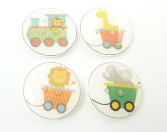 """4 Zoo Animal Train Buttons.  Handmade Buttons.  Sewing Buttons. 3/4"""" or 20 mm. Monkey, Giraffe, Lion and Elephant."""